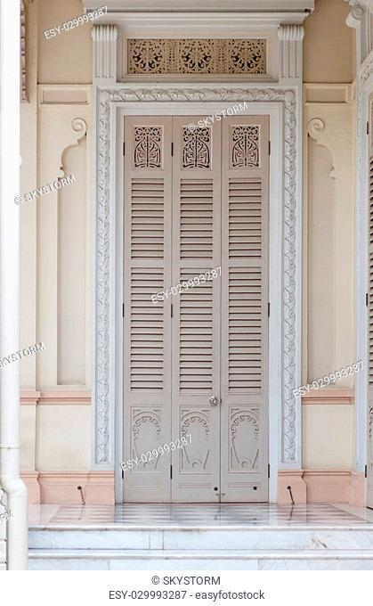 Door of the Abhisek Dusit Throne Hall with Support Museum in Bangkok; Thailand