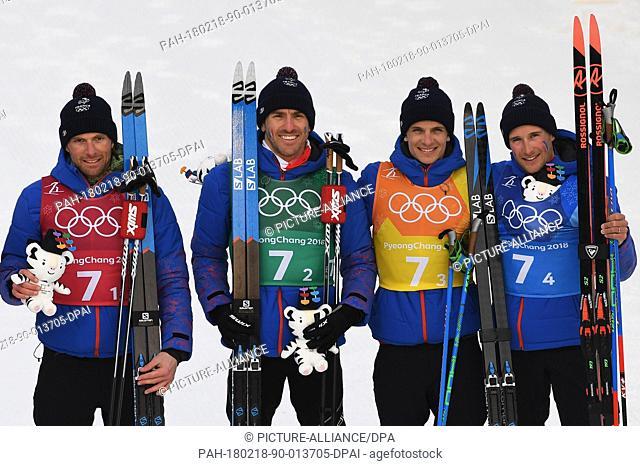 18 February 2018, South Korea, Pyeongchang, Olympics, Cross Country Ski Run, 4x10km Relay, men, Alpensia Cross-Country and Biathlon Centre: Jean Marc Gaillard...