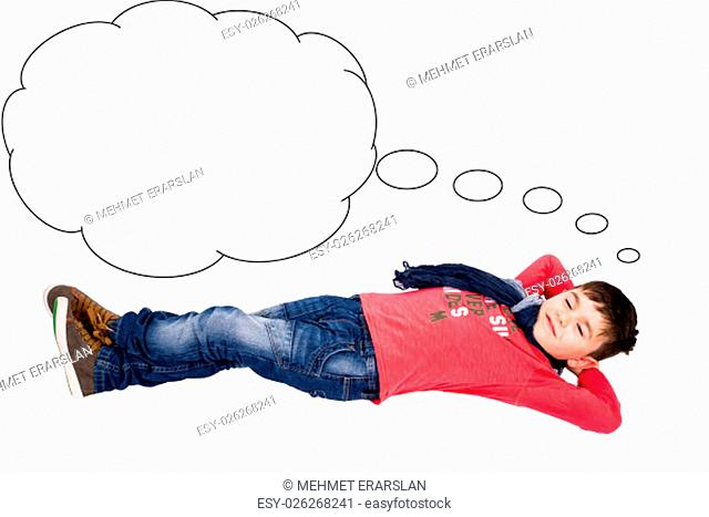 Boy dreams are thought bubble
