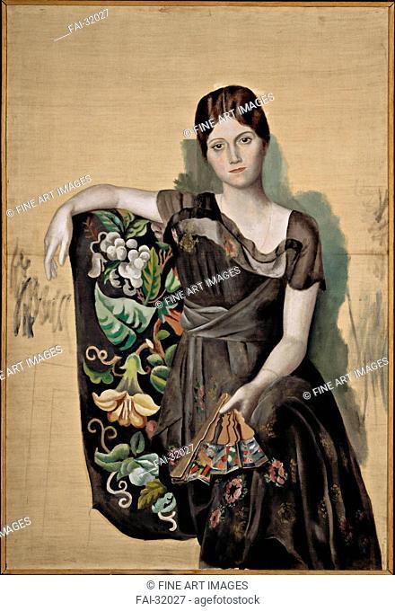 Portrait d'Olga dans un fauteuil (Olga in an Armchair) by Picasso, Pablo (1881-1973)/Oil on canvas/Modern/1917-1918/Spain/Musée Picasso, Paris/130x88