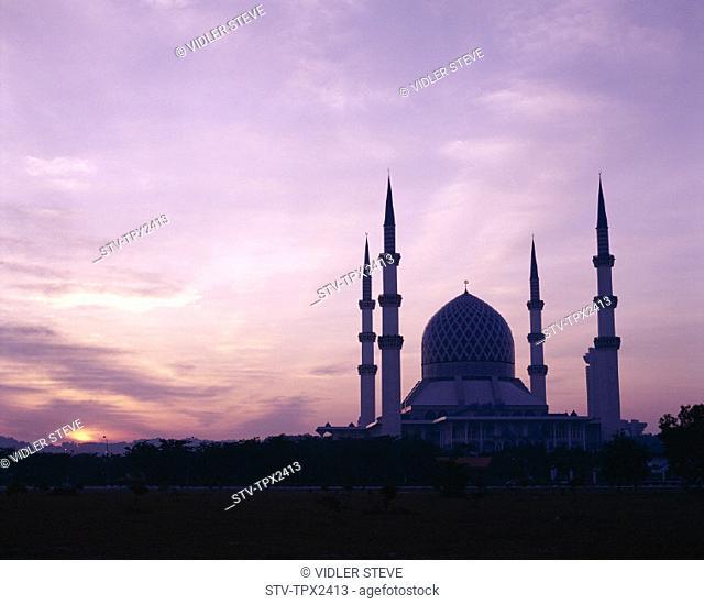 Abdul, Asia, Holiday, Landmark, Malaysia, Masjid, Mosque, Salahuddin, Selangor, Shah, State mosque, Sultan, Sunset, Tourism, Tra