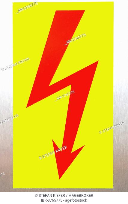 Warning sign, electricity lightning bolt, high voltage current, Germany
