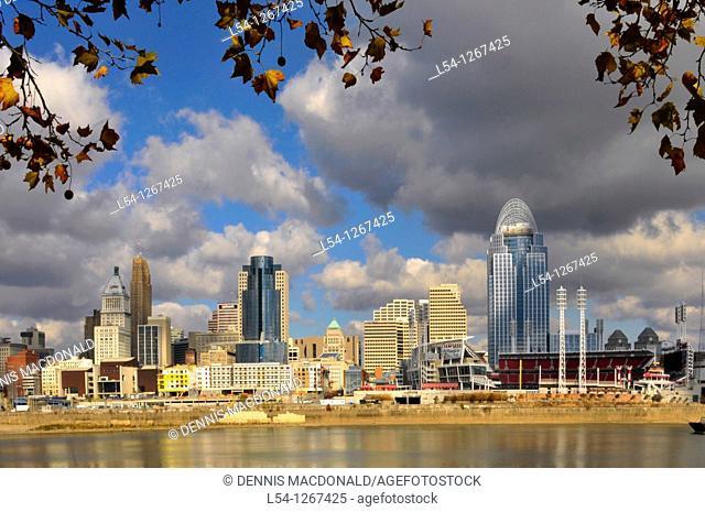 Downtown skyline Cincinnati Ohio as view across the Ohio River at Covington Kentucky