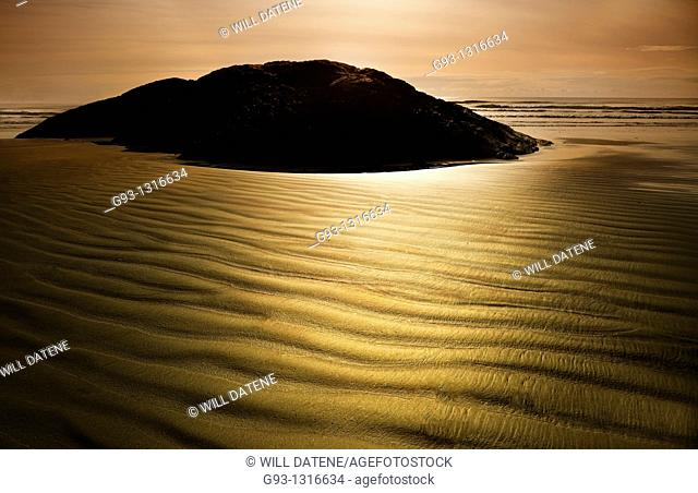 Texture in sand on beach. Vancouver Island, British Columbia, Canada