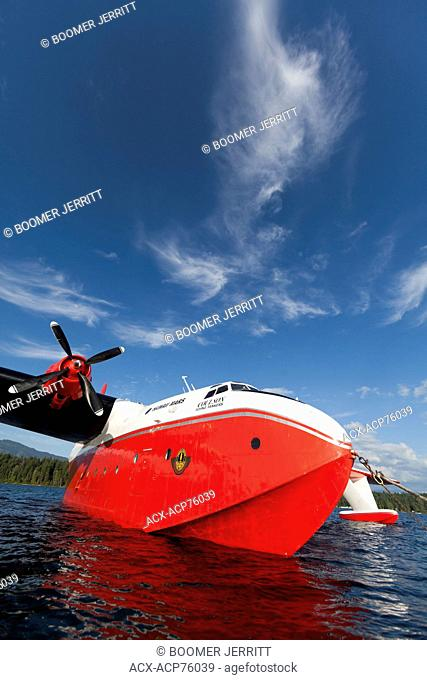 The huge Martin Mars Water Bombers are a popular tourist draw at their home base on Sproat Lake in Port Alberni. Port Alberni, Vancouver Island