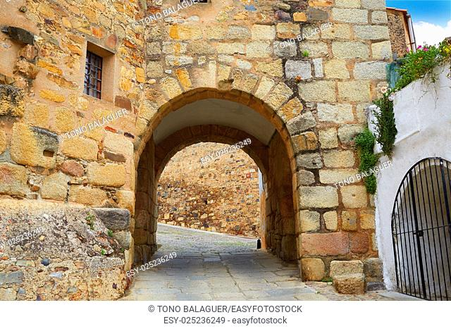River door Arco del Cristo in Caceres of Spain at Extremadura
