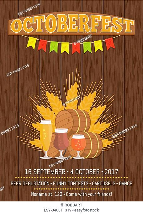 Octoberfest or Oktoberfest promotional poster with wooden backdrop. Beer degustation vector illustration on background of ears of wheat