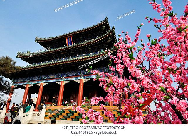 Beijing (China): fake blossoming cherry tree by the temple in Jingshan Park