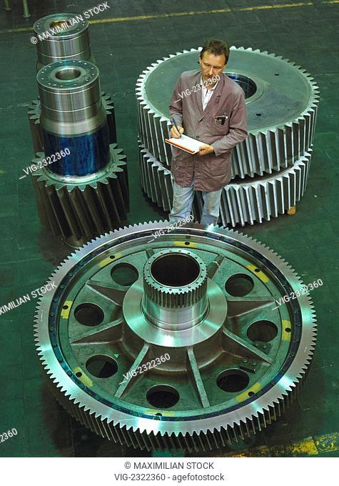 Technician inspecting gear wheels for a rolling mill gear - 01/01/2010