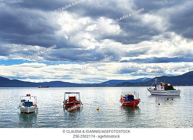 Anchored fishing boats at the coast of Pelion Peninsula, Thessaly, Greece