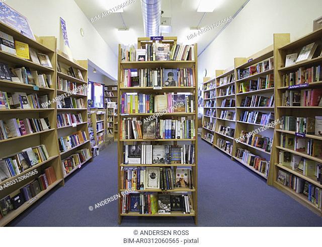 Bookshelves in bookstore