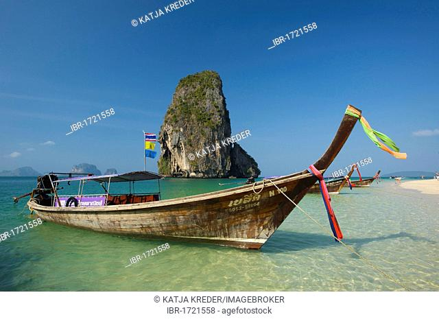 Longtail boat at Laem Phra Nang Beach, Krabi, Thailand, Asia