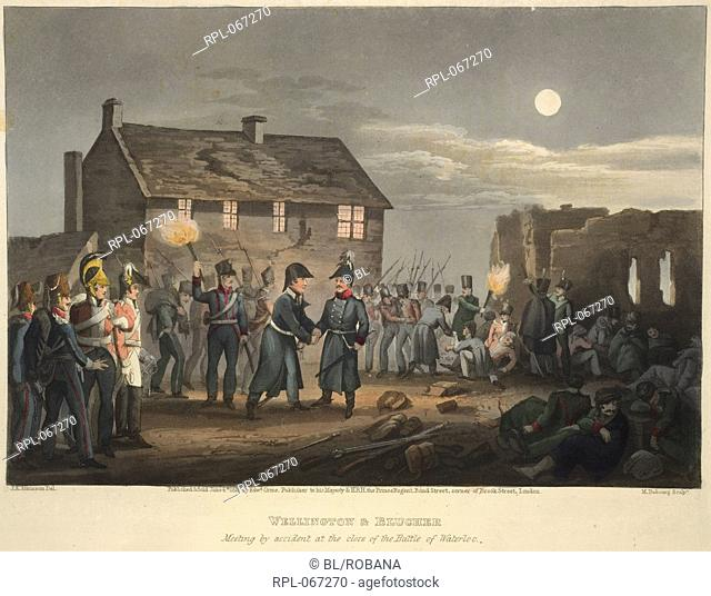 Wellington & Blucher meeting by accident at the close of the Battle of Waterloo. The last major battle of the Napoleonic wars
