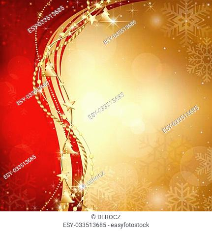 Gold Christmas Background with Snowflakes and Ornaments