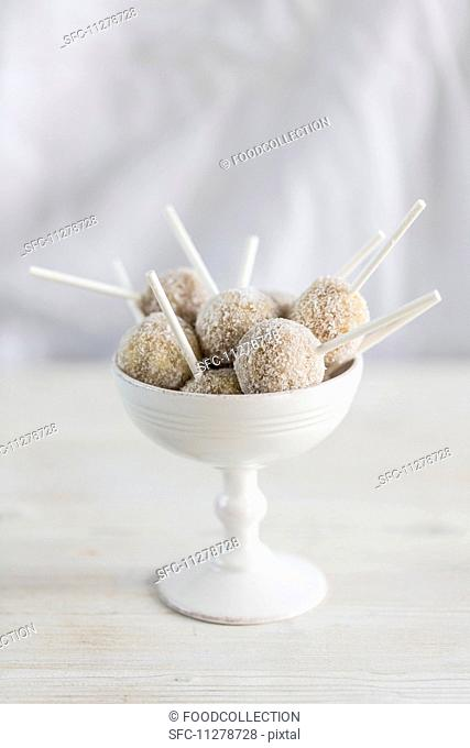 Cake pops in an ice cream bowl