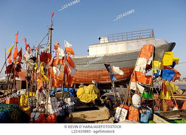 The old fishing port. The city of Essaouira. (historic city of Mogador). Atlantic coast. Morocco