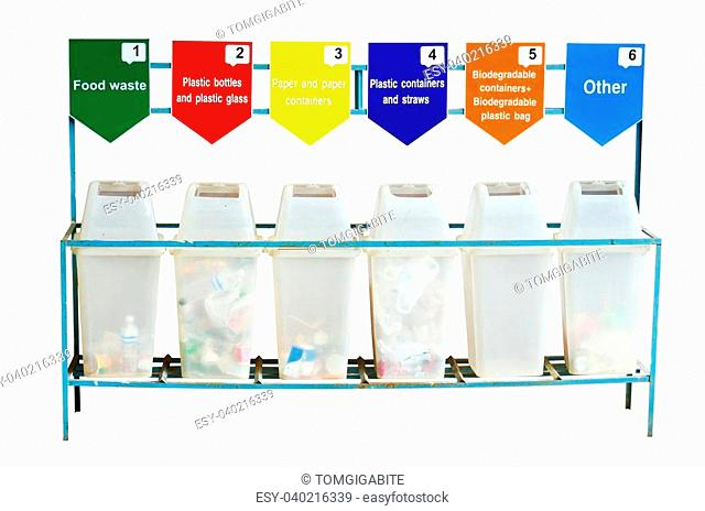 6 trash containers for garbage separation isolated over white background