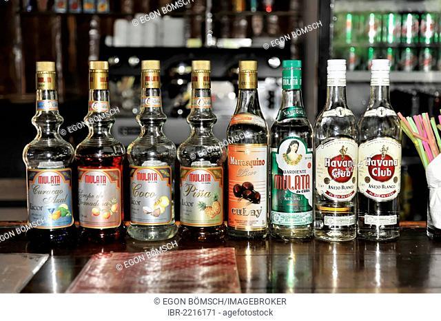 Bottles of rum and liquor, souvenir in a gift shop, Criadero de Cocodrilos crocodile farm, Parque Natural Ciénaga de Zapata, Zapata Peninsula, Cuba