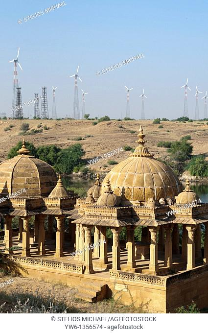 Bada Bagh near Jaisalmer in Rajasthan, with wind farm in the background