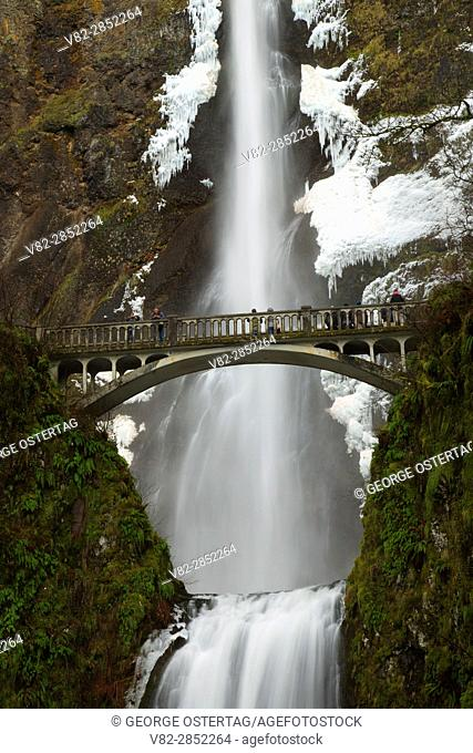 Multnomah Falls with Benson Bridge, Historic Columbia River Highway, Mt Hood National Forest, Columbia River Gorge National Scenic Area, Oregon