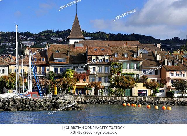marina and village of Lutry on the edge of Leman Lake, Lausanne, Canton of Vaud, Switzerland, Europe