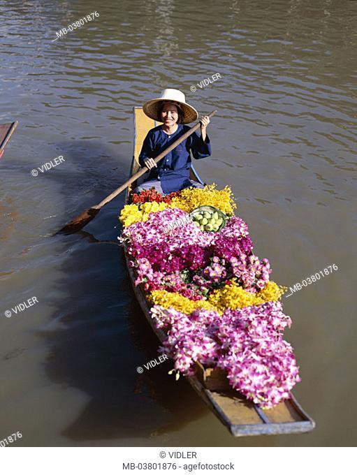 Thailand, Bangkok, Damnoen Saduak,  Swimming market, dealer,   Series, Asia, southeast Asia, waters, woman, market woman, natives, straw hat, rowboat, boat