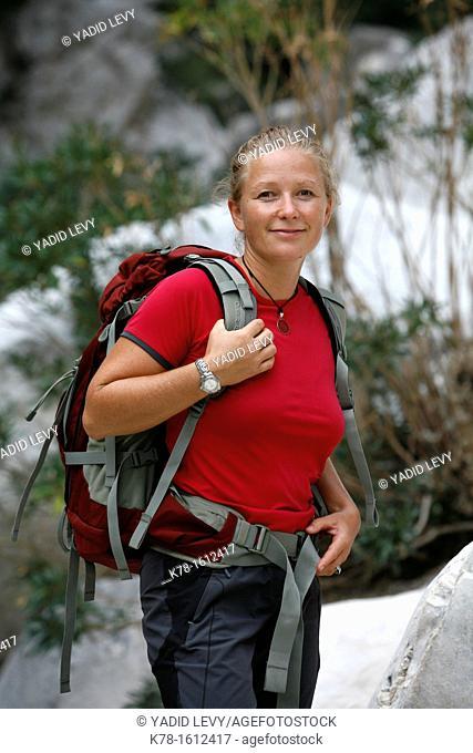 Trekking guide at Gola Su Gorruppu canyon, Sardinia, Italy
