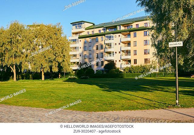 Anna Lindh Park, Hammarbyhamnen, Stockholm, Sweden, Scandinavia. . Named after Swedish Foreign Minister Anna Lindh assassinated on 11th September 2003