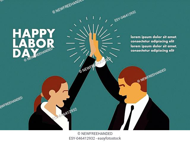 Happy labor day greeting card businessman concept illustration with hands design art