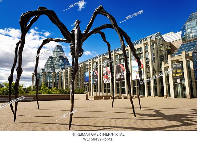 Entrance to the National Gallery of Canada in Ottawa with bronze sculpture art of giant spider called Maman