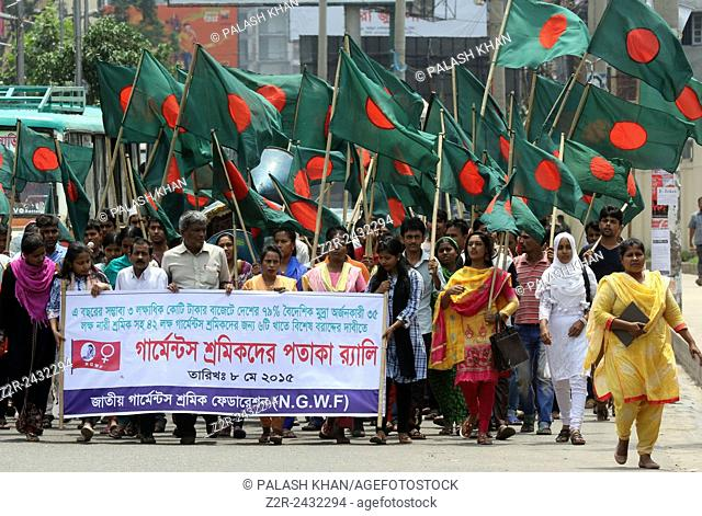 Dhaka 08 april 2015. National Garments Worker's Federation demonstrate in front of the National Press Club on Friday demanding special allocations for them in...