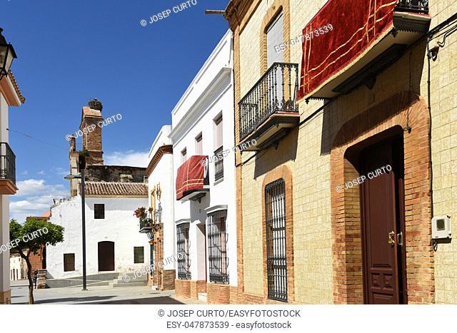 Street and Ruins of the Church of Saint Martin, (13th century) Niebla, Huelva province, Andalusia, Spain