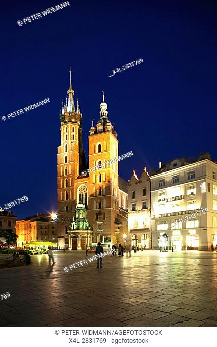 Saint Mary Basilica at the Main Square in Krakow by Night, Poland, Europe, 4. July 2004