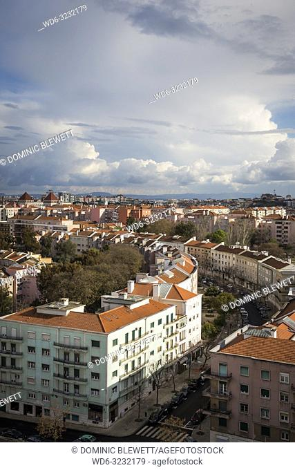 The Areeiro area of Lisbon, Portugal, seen from above