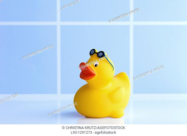 Yellow rubber duck with sunglasses