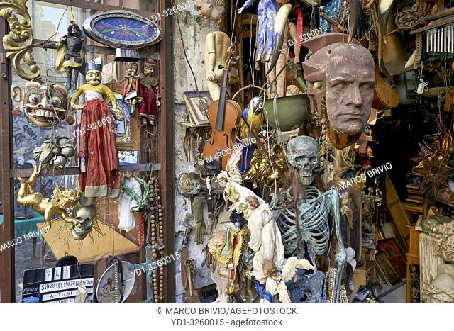 Naples Campania Italy. A junk dealer in Via Tribunali