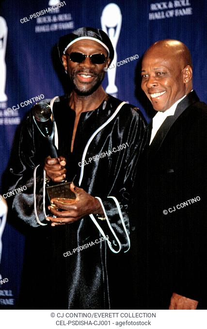 Isaac Hayes and David Porter at the Rock and Roll Hall of Fame, NYC, 3/18/2002, by CJ Contino