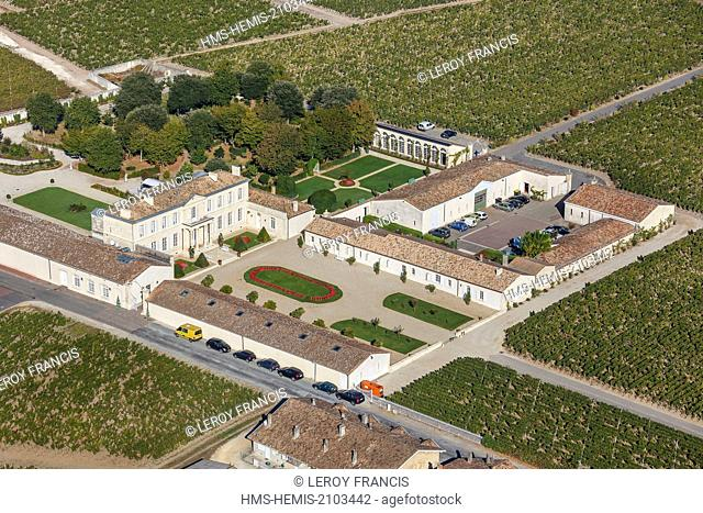 France, Gironde, Saint Julien Beychevelle, Chateau Branaire Ducru, fourth growth Saint Julien (aerial view)