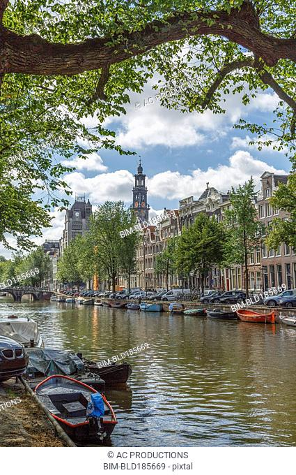 Boats and buildings on Amsterdam canal, Amsterdam, Holland