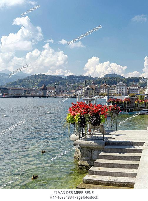 shore and Vierwaldstättersee lake in Lucerne, Switzerland