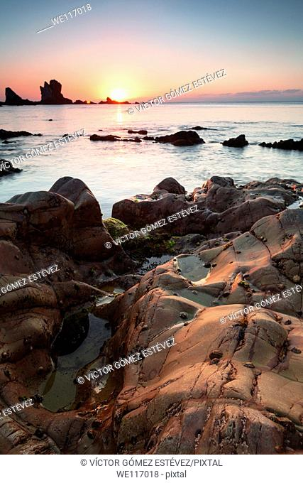 Sunset in Silent Beach, Asturias, Spain