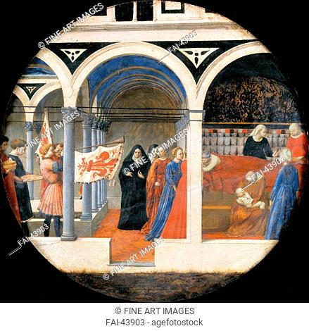 Birth Plate (Desco da Parto). Reverse: Puerperium of a noble Florentine woman by Masaccio (1401-1428)/Oil on wood/Renaissance/c