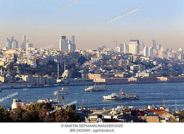 View from Old City Sultanahmet over Golden Horn towards Beyoglu and Sisli, Istanbul, Turkey, Europe