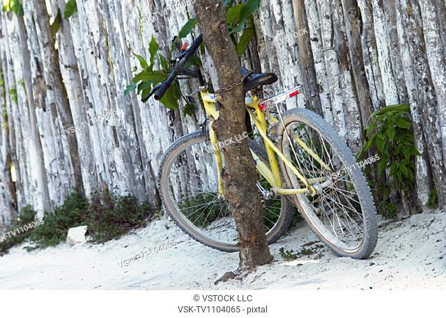Bicycle against post
