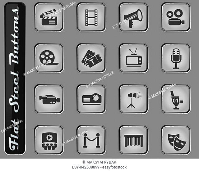 cinema web icons on the flat steel buttons