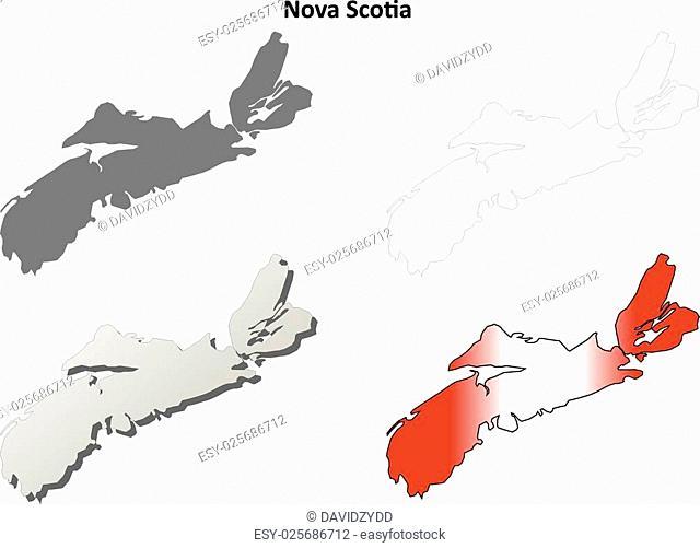 Nova Scotia province blank vector outline map set