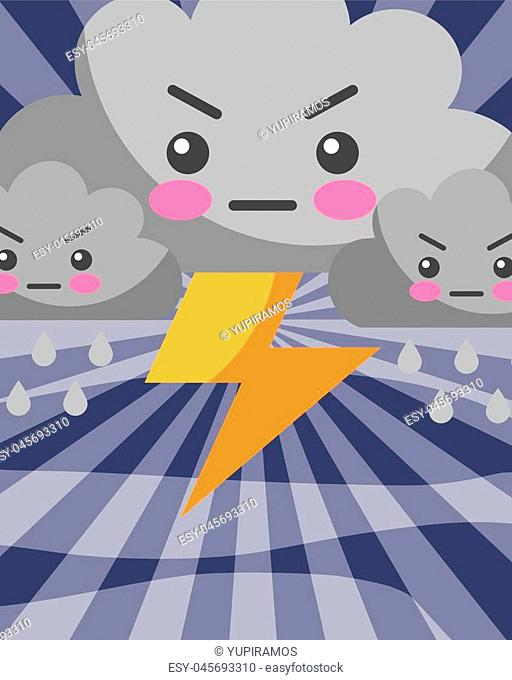 kawaii thunderbolt clouds drops rain weather cartoon vector illustration