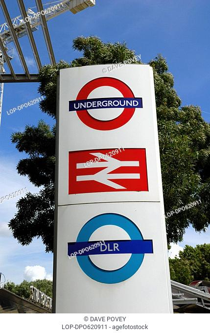 Underground, overground and DLR Docklands Light Railway sign outside Stratford station. Stratford Regional Station will be one of the main gateways for...
