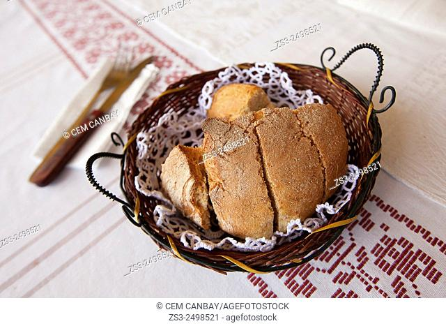 Close-Up shot of home-made bread in the mountain village of Meronas, Rethymno Region, Crete, Greek Islands, Greece, Europe