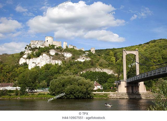 Europe, France, Les Andelys, Gaillard Castle, Chateau Gaillard, River Seine, Seine River, Rivers, Castle, Castles, Tourism, Travel, Holiday, Vacation